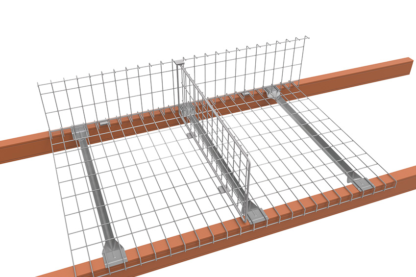 Mesh Decking across racking beams